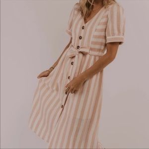 Roolee Pink Charles Stripe Linen Button Down Dress
